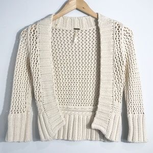 FREE PEOPLE Cropped Open Knit Cardigan